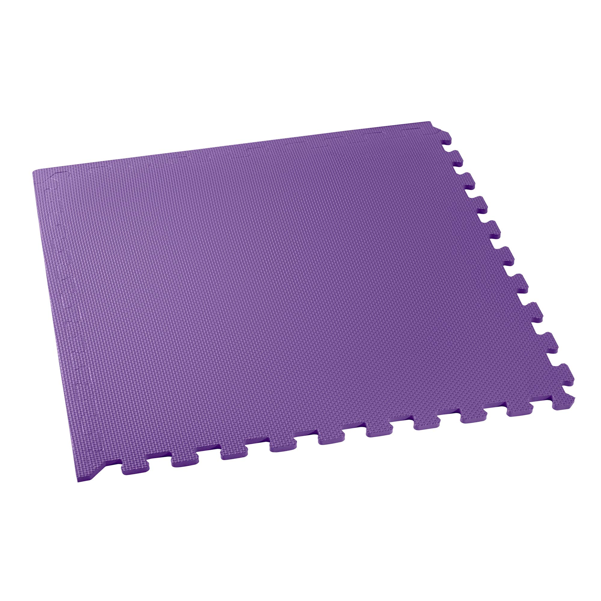 We Sell Mats Multipurpose Exercise Floor Mat with EVA Foam, Interlocking Tiles, Anti-Fatigue, for Home or Gym, 16 Square Feet (4 Tiles), 24 x 24 x 3/8 Inches, Purple