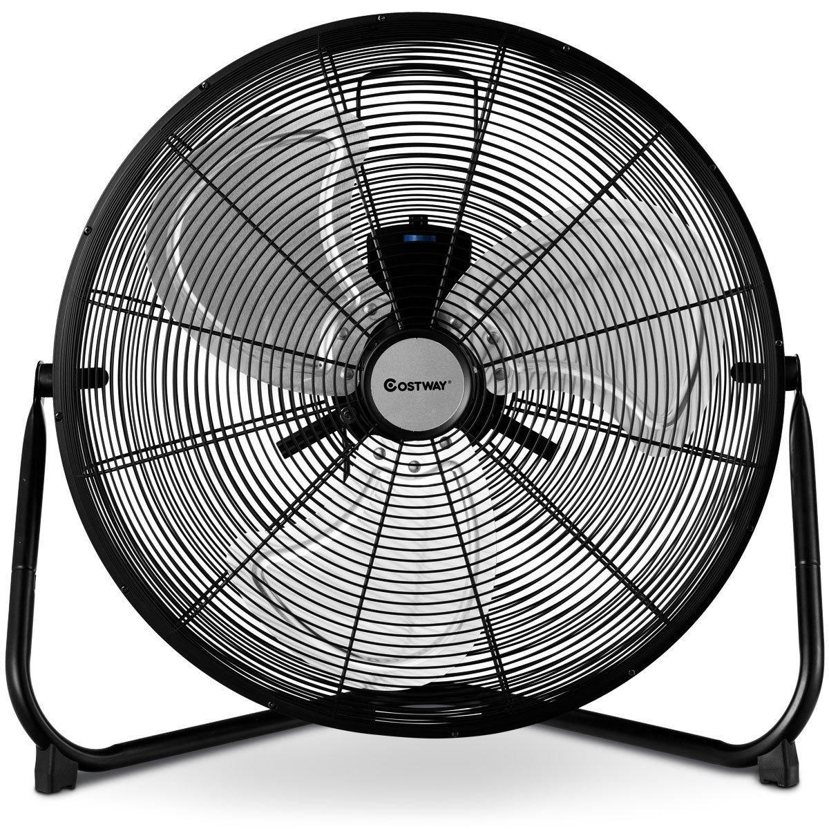 COSTWAY High Velocity Fan 20-Inch 3-Speed Metal Commercial Industrial Grade 360° Floor Fan, Black (20'')