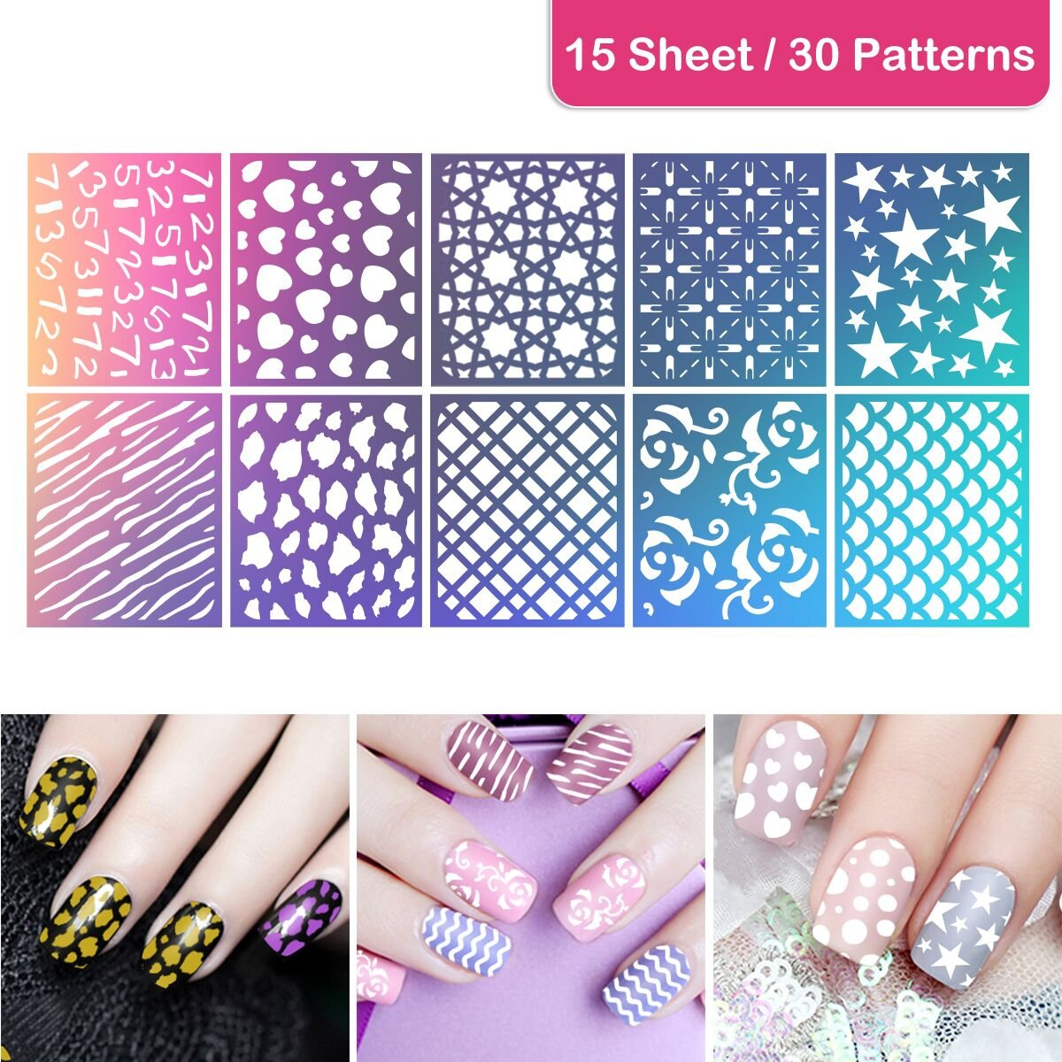 Etereauty nail art stamping kit with 10 manicure plate set nair etereauty nail art stamping kit with 10 manicure plate set nair art polish stamper and scraper tool prinsesfo Choice Image