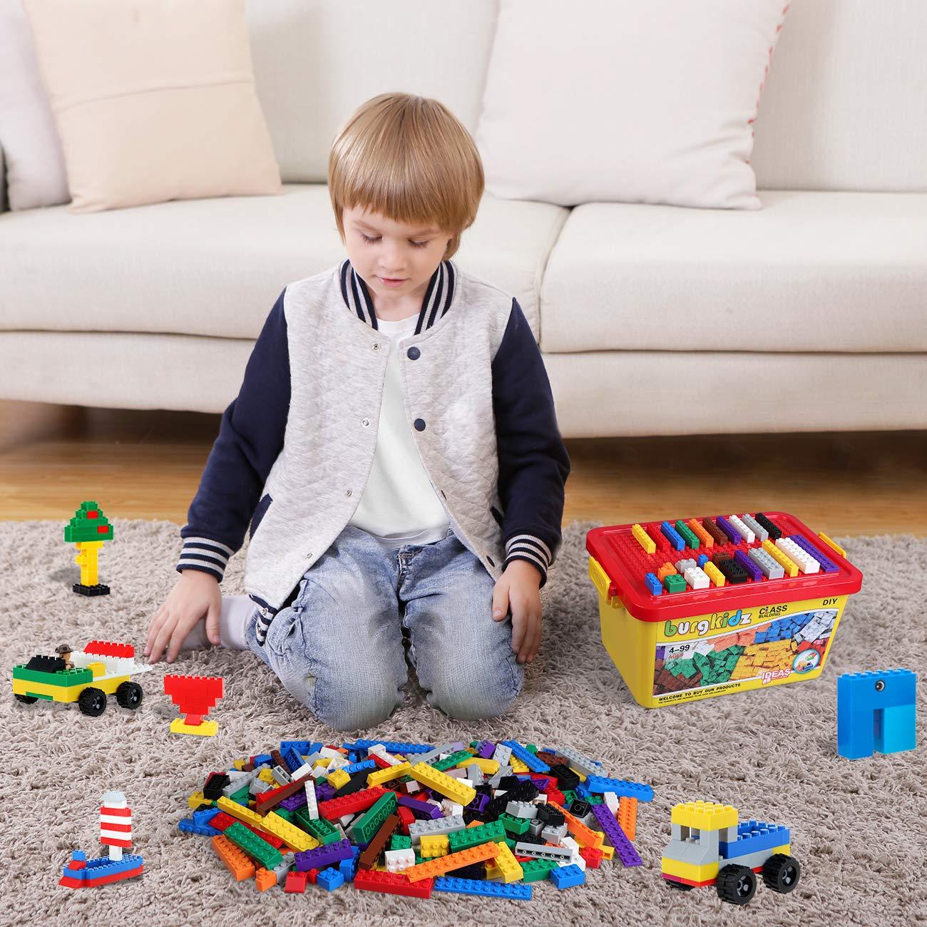 burgkidz Mattoncini Classic Costruzioni con Secchio Portatile e Compatibili con Tutti i Principali Blocchi di Marca 520 Pezzi Giocattoli Educativi per Bambini