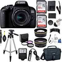 Canon EOS 800D (Rebel T7i) 18-55mm is STM Lens (Black) Professional Accessory Bundle Package Includes: SanDisk 32gb Card (2CT) + 50'' Tripod + Canon Bag and More