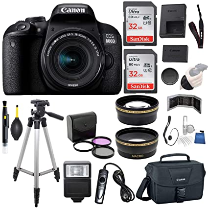 Canon EOS 800D (Rebel T7i) 18-55mm is STM Lens (Black) Professional  Accessory Bundle Package Includes: SanDisk 32gb Card (2CT) + 50'' Tripod +  Canon