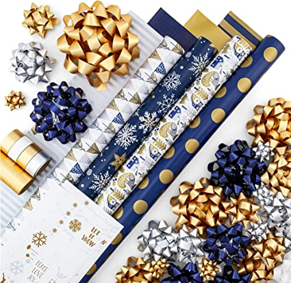 Amazon Com Gold Silver Blue Reversible Wrapping Paper Set 4 Rolls 8 Designs Of Premium Gift Wrap 80 Sq Ft With 30 Coordinated Bows 2 Spools Of Ribbon And 24 Gift Tags Home Kitchen