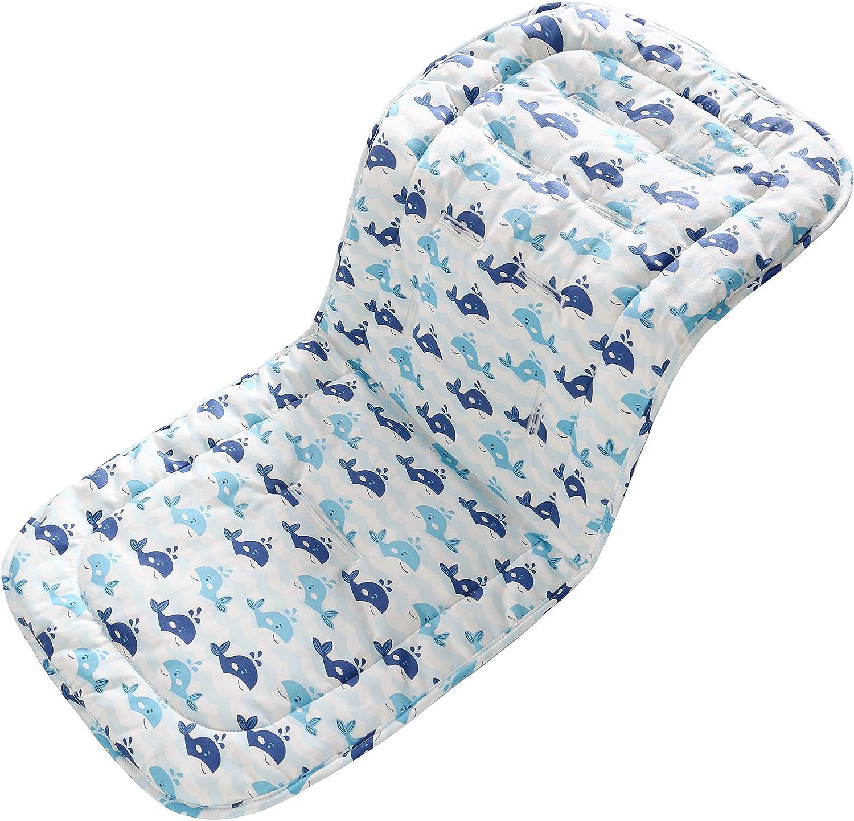 Miracle Baby Cojín Carro Bebe,Colchoneta Silla Paseo Universal Verano Transpirable,Cojín Silla de Paseo para el Cochecito y Asiento de Carro, 100% Algodón, 32x80cm(Ballena azul)