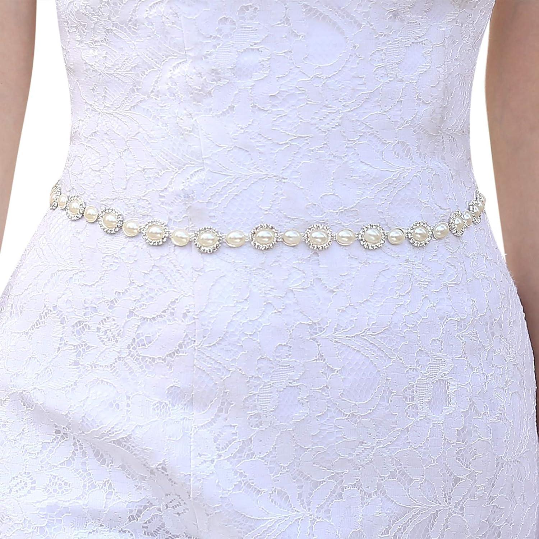Bridal Wedding Dress Belt Bride Sash Ivory Pearl And Crystal Sparkle Ribbon