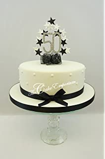 Cake Decoration Topper Burst Spray Diamante 50th Birthday Black White Glitter Stars With Ribbon