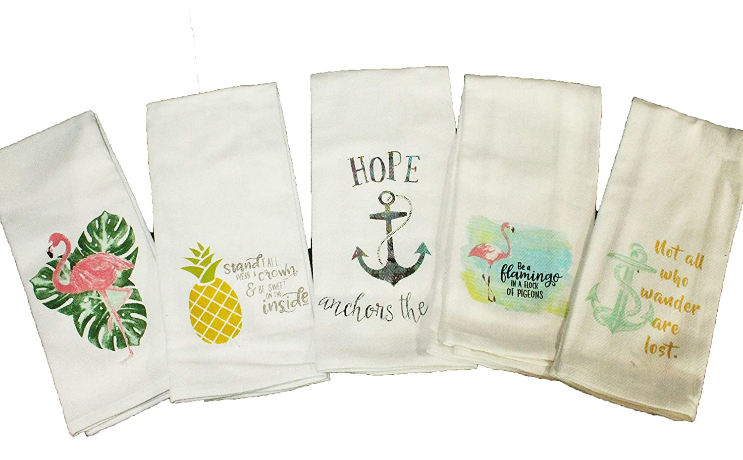 Anchors Cute Set of 5 Beach Tropical Kitchen Towels Gift Set Comes in Organza Gift Bag Flamingoes and Pineapple Designs Colorful and Funny for Summer