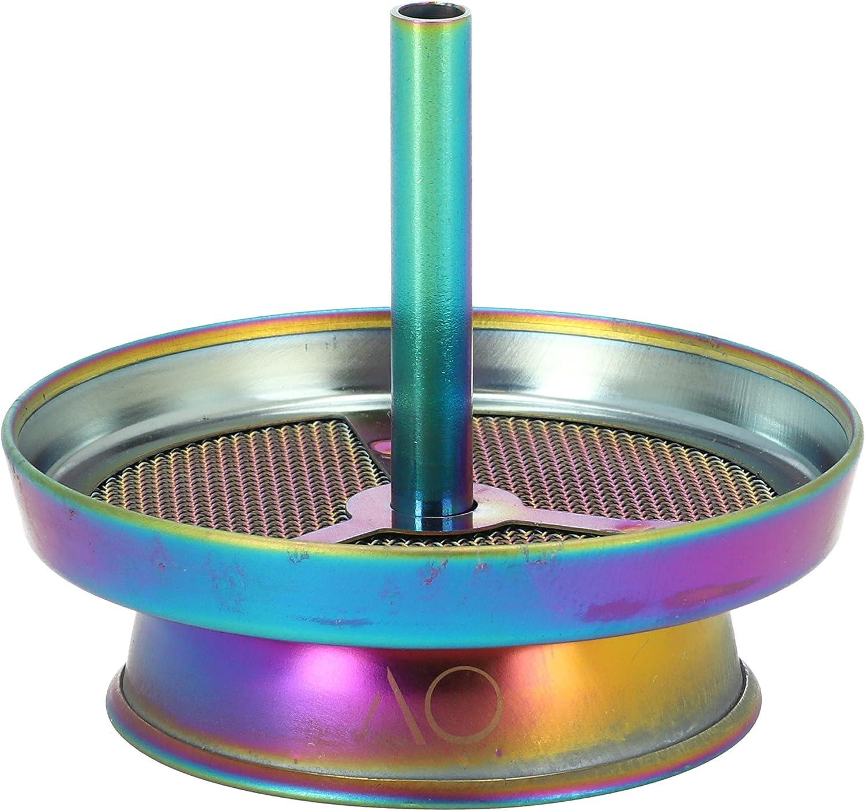 AO® Cachimba Chimenea Soporte Carbón Shisha | Cabeza Cazoleta Pot 5 Agujeros Universal | por una regulación de Calor óptima (Arcoíris)