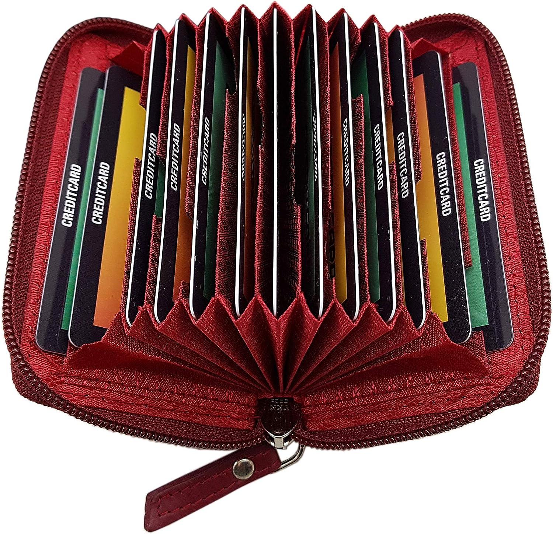 Cuir porte-carte de cr/édit et cartes de visite 13 compartiments en 2 diff/érentes couleurs Rouge