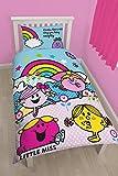 Character World Parure de lit simple avec housse de couette Motif Monsieur Madame/arc-en-ciel Multicolore