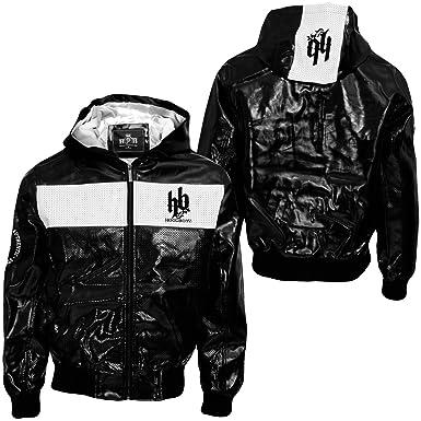 Hoodboyz OPTIC PU Lederjacke black White: Amazon.co.uk: Clothing