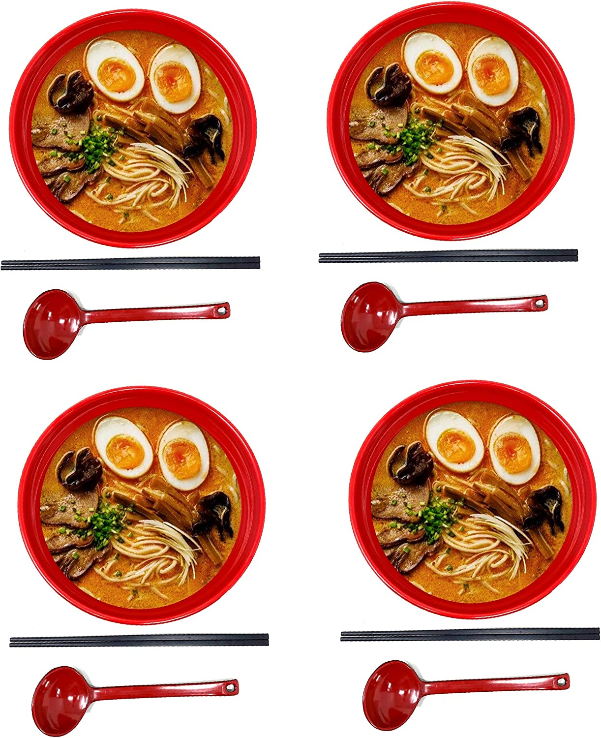 YOUZHI 4 Sets Large Japanese Soup Bowl Melamine Hard Plastic Dishware Ramen Bowl Set with Matching Spoon and Chopsticks for Udon Soba Pho Asian Noodles ,Red 12 Piece 1700ml, Black, Red, 9 inches