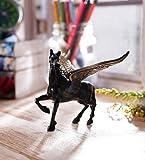 eCraftIndia Antique Finish Brass Flying Angel Horse (12.5 cm x 15 cm x 10 cm, Brown and Black)