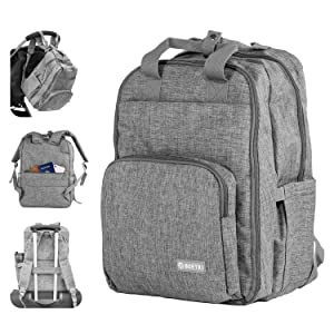 Family TRAVEL Diaper Bag Backpack for Every Day - All in One - Food Compartment- Luggage and Stroller Straps - Anti Theft Pocket - Water Resistant -Laptop Pocket -Changing Pad- SBS Zippers - by BOETRI