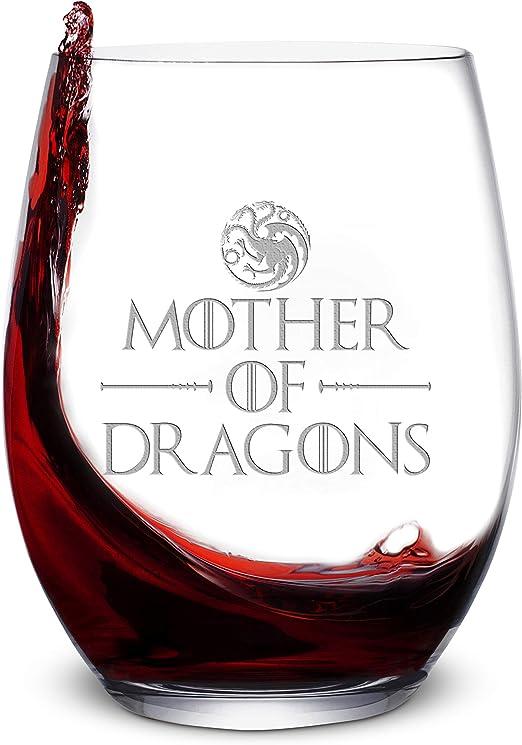 Vaso de vino con diseño de madre de dragones de 16 onzas, sin ...