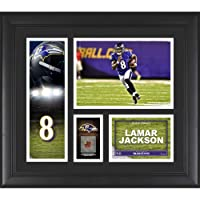 "$48 » Lamar Jackson Baltimore Ravens Framed 15"" x 17"" Player Collage with a Piece of Game-Used Ball - NFL Player Plaques and Collages"