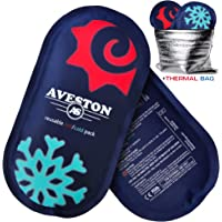 AVESTON Reusable Flexible 2 Ice Packs Set for Knee Ankle Back Shoulder Neck Hot Cold Therapy Compress for Women Men + Free Thermal Bag