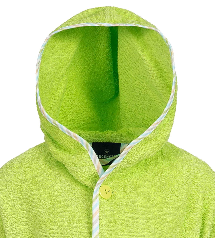Morgenstern Baumwoll Kinderbademantel mit Kapuze einfarbig