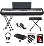 Yamaha P-115B 88-Key Graded Hammer Standard (GHS) Digital Piano (Black) Bundle with Knox Double X Stand Knox Wide Bench Sustain Pedal Dust Cover Headphones and FastTrack Book and DVD