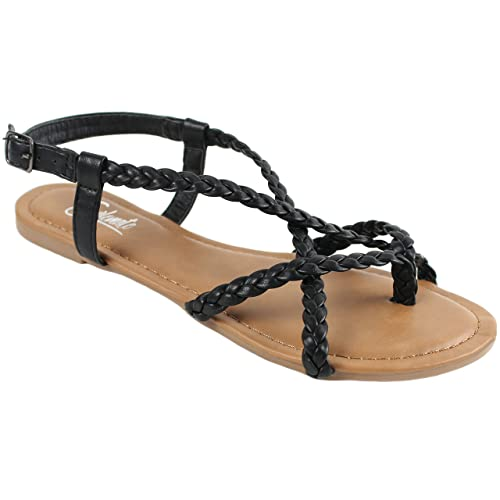227c16ae3ac3 Amazon.com  New Women s Strappy Roman Gladiator Sandals Flats Crossover  Shoes - Vivian  Shoes