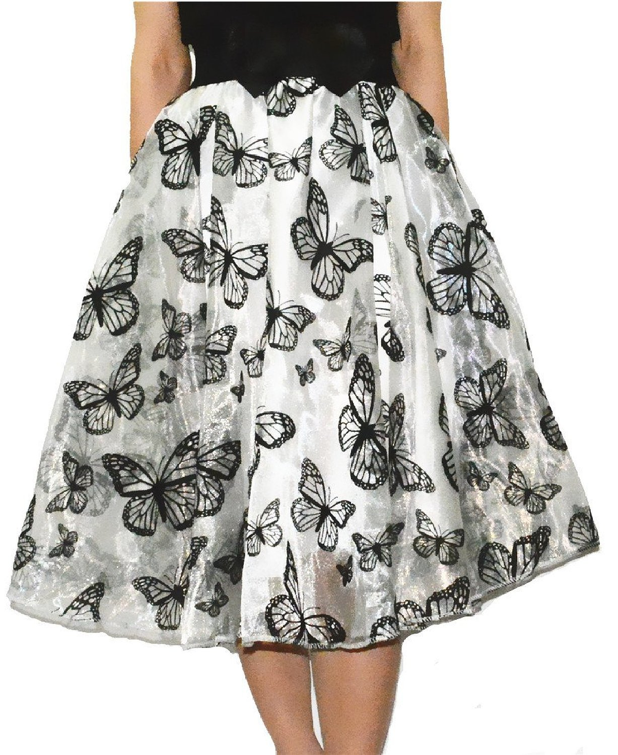 Jojobaby Lady's Organza Princess Skirt Bowknot Pleated Midi/ Knee Length Skirts (Butterfly White)