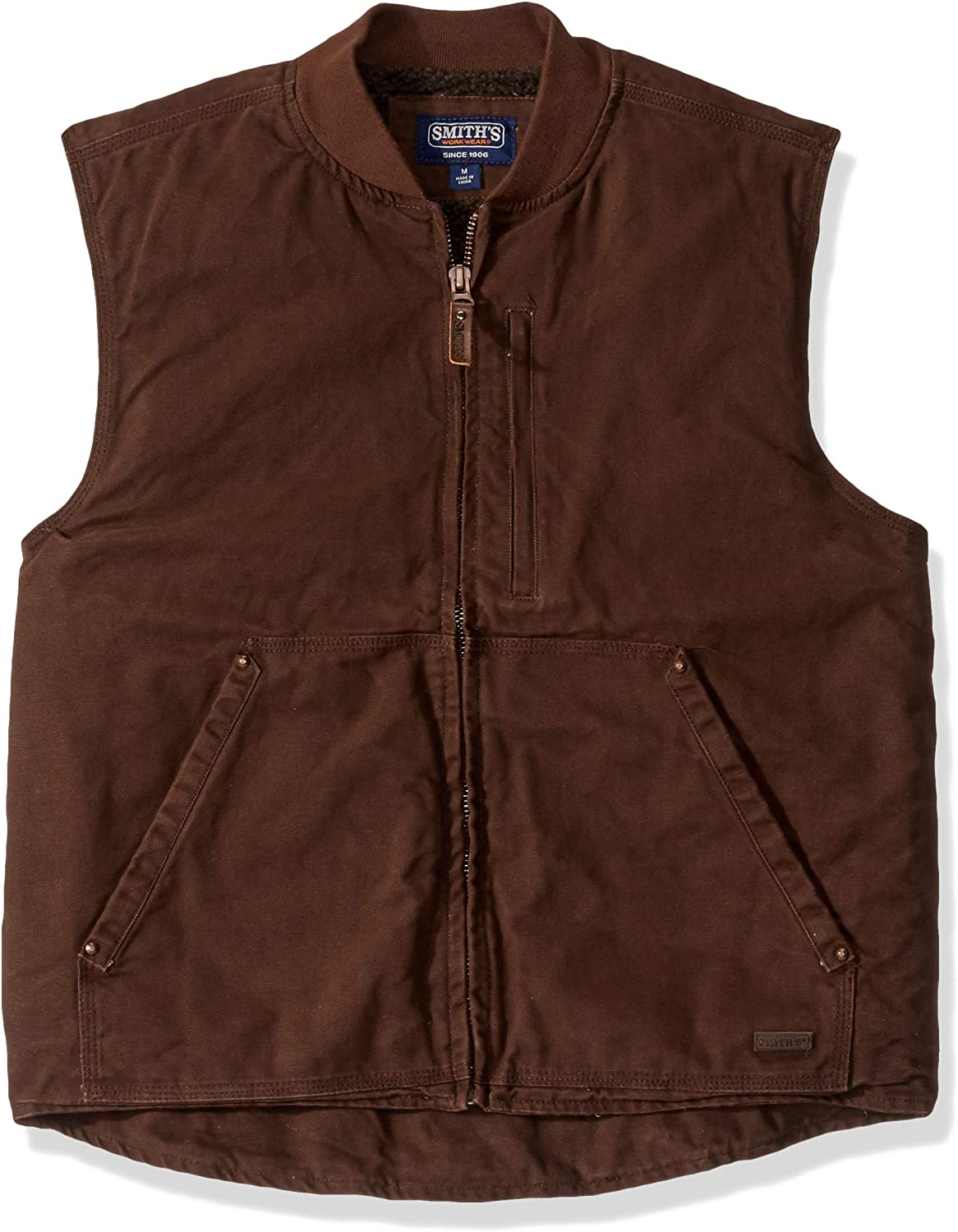 Smiths Workwear mens Sherpa-lined Duck Canvas Vest Work Utility Outerwear