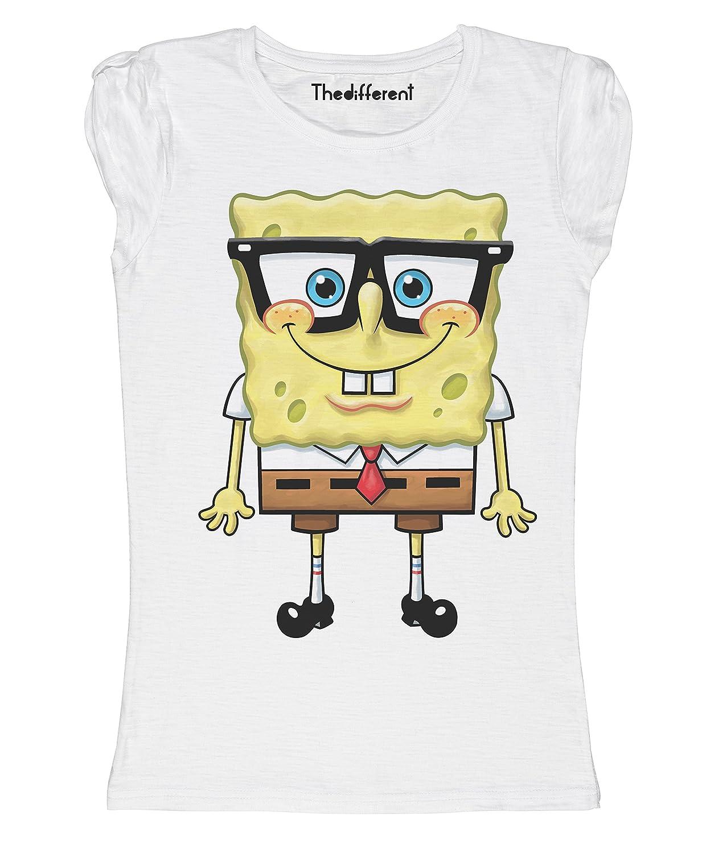 New T-Shirt Donna Fiammata Spongebob Smile Idea Regalo
