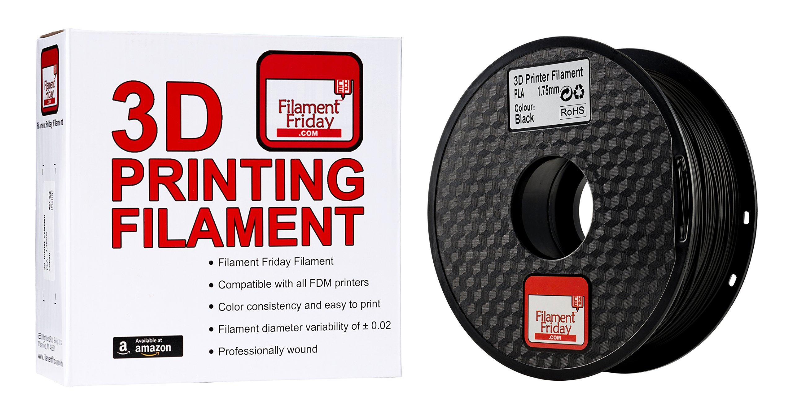 PLA Filament for 3D Printer - Black 3D Printer PLA Filament with Dimensional Accuracy +/- 0.02 mm - 1.75mm Diameter - 1KG Spool - Official Filament Friday Filament