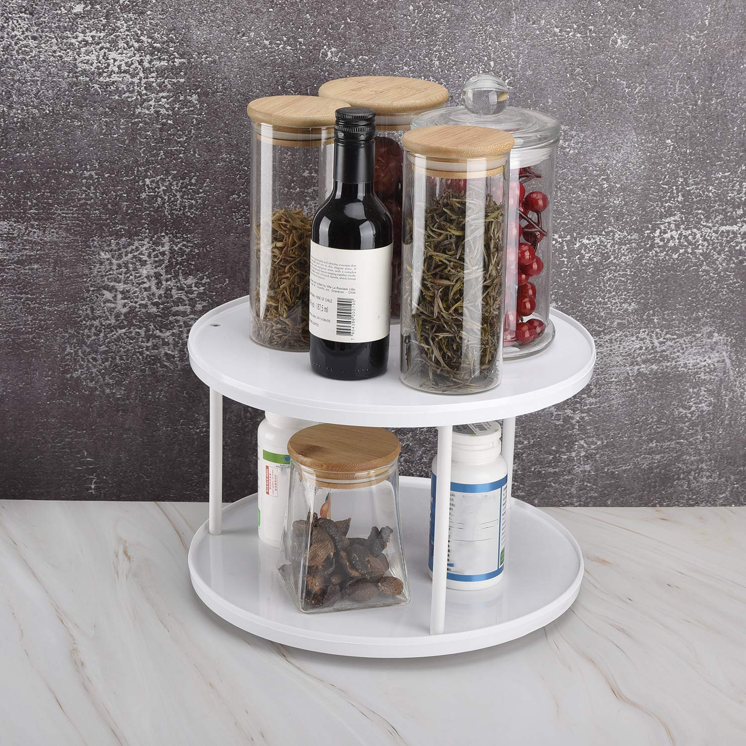 TamBee 2 Tier lazy susan turntable 360-degree Plastic lazy susan organizer use for a spice organizer or kitchen cabinet organizers 10.6 Inch