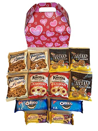 Valentines Day Cookies Care Package features lovely hearts graphic Gift Box stuffed with cookies, the