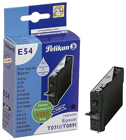 Pelikan 359544 - Cartucho de tinta Epson Stylus D78, D92, DX4000, S21 - T0711 / T0891 (9ml) - NEGRO
