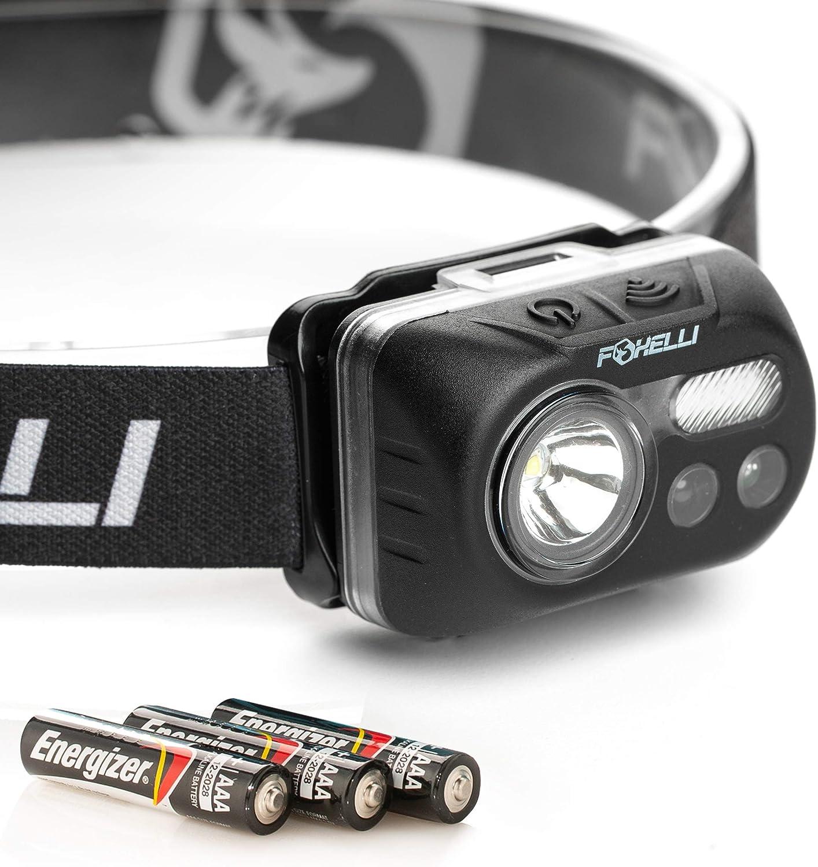 Foxelli USB Rechargeable Lightweight /& Comfortable Headlamp Flashlight 180 Lumen for sale online