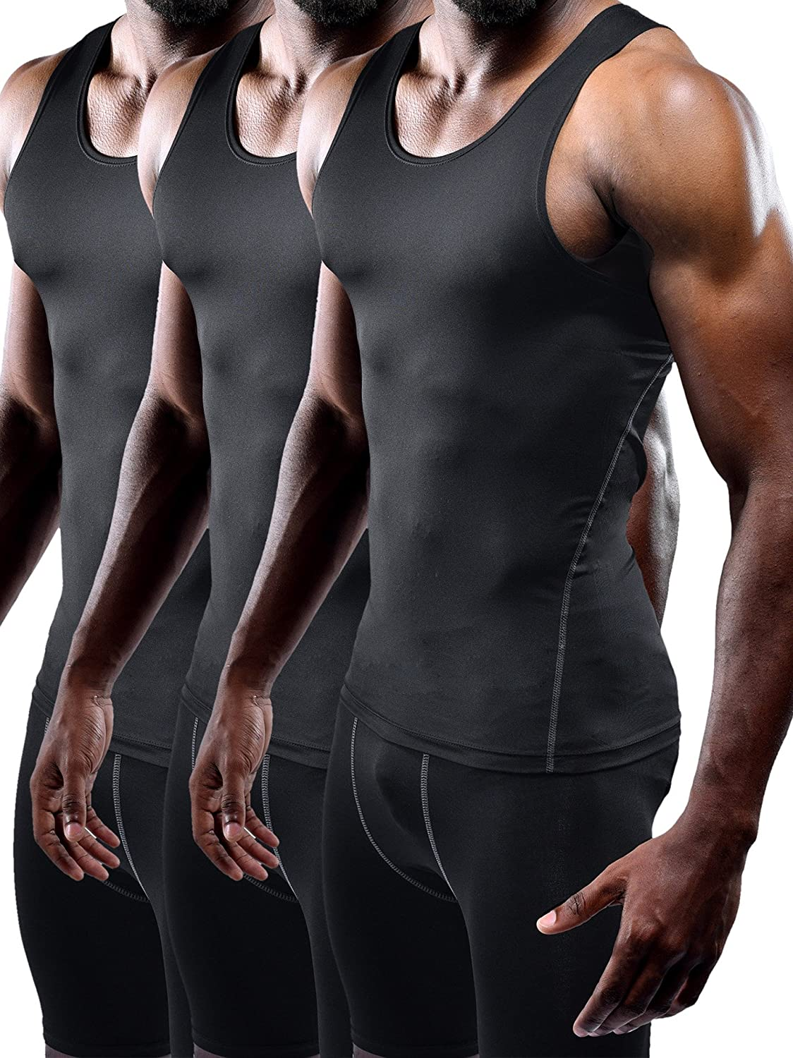 Neleus Mens 3 Pack Athletic Compression Under Base Layer Sport Tank Top