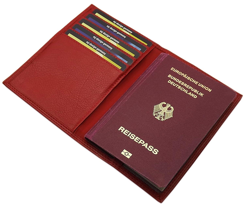 Cuir de veau pochette de carte d'identité et porte carte de crédit MJ-Design-Germany en 3 différentes couleurs (Marron)