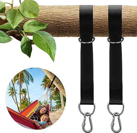 Imagen deSKL Tree Swing Strap - Juego de perchas para colgar al aire libre para 2000 libras con cierre de seguridad mosquetones bolsa de transporte para hamacas neumáticos, columpios de disco