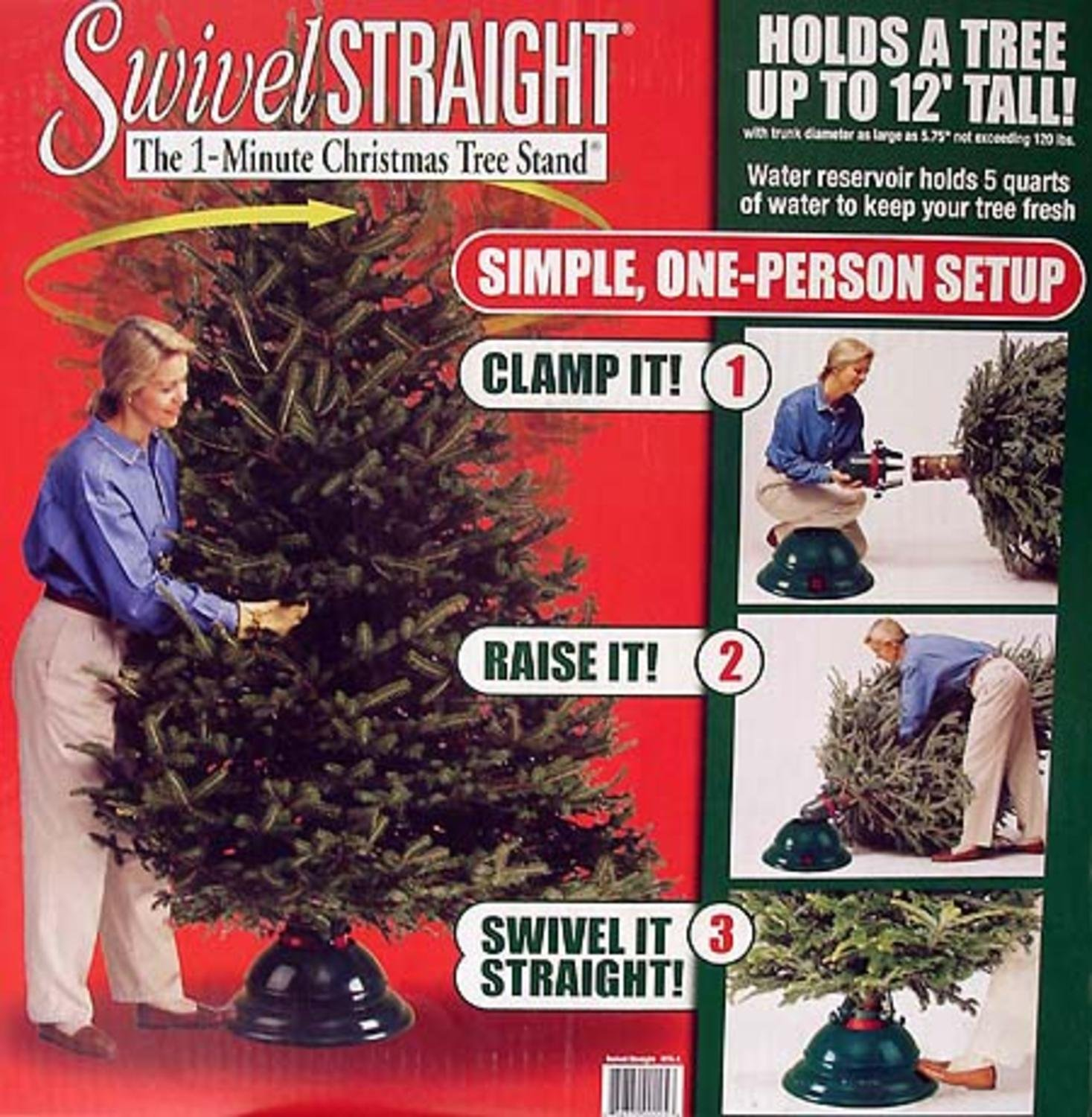 Swivel Straight 1-Minute Christmas Tree Stand - For Trees Up To 12' Tall #XTS-1 Dyno