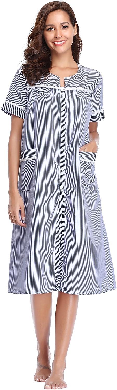 Lusofie Mujer Camisa de Dormir de Algodón Manga Larga Camisón Novio Ropa de Dormir a Rayas