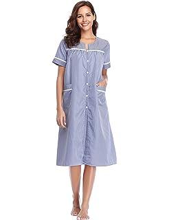 46b4fefb48 Lusofie Women Cotton Nightie Striped Long Nightdress Short Sleeve Sleepwear  with Button