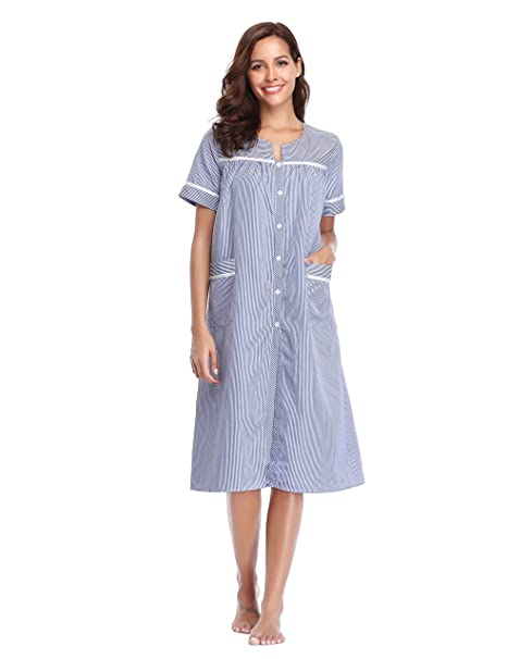 Lusofie Women Cotton Nightie Striped Long Nightdress Short Sleeve Sleepwear  with Button  Amazon.co.uk  Clothing dfac60f3b