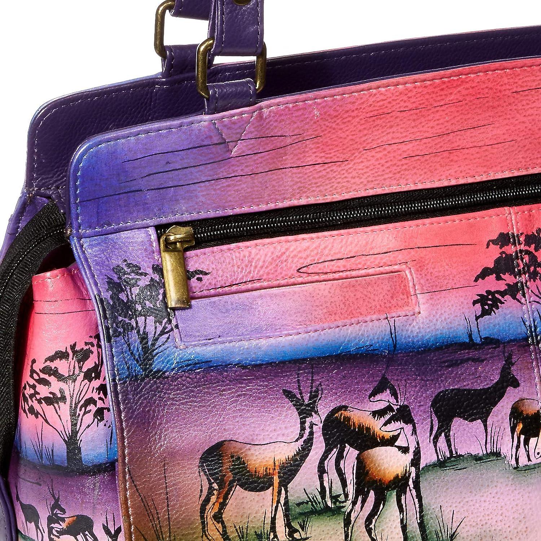 Anna by Anuschka Genuine Leather Large Satchel Shoulder Bag Hand-Painted Original Artwork