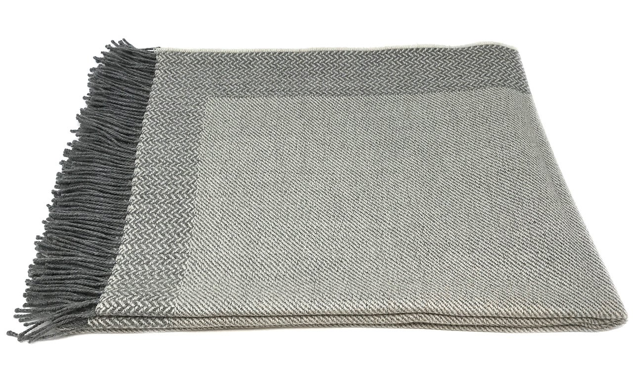 All Natural Reversible Herringbone Pattern with Fringe Perfect for Bedroom or Living Room Incredibly Soft 100/% Baby Alpaca Wool Sofa Throw Blanket Woven by Hand Inca Fashions TCC-001//N11N1 Silver // Bone