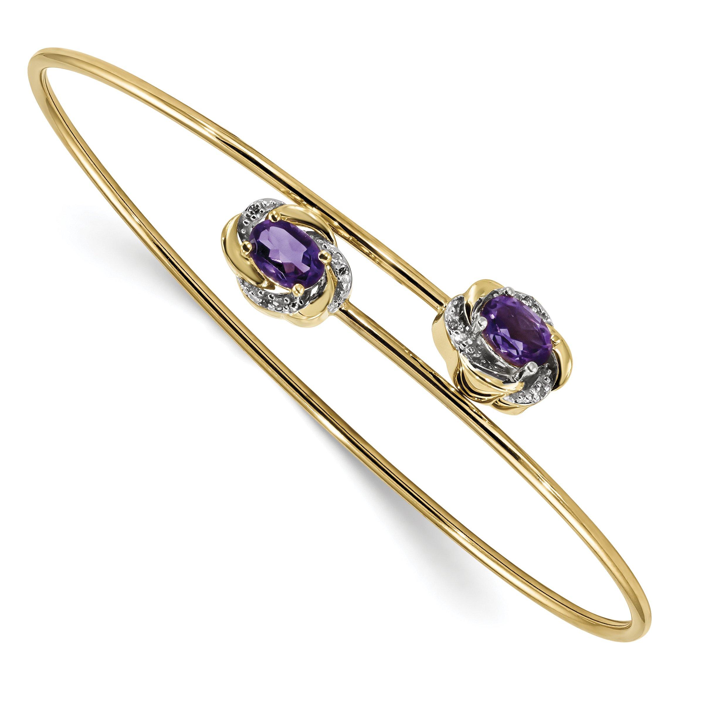 ICE CARATS 14k Yellow Gold 0.03ct Diamond .86ct Purple Amethyst Flexible Bangle Bracelet Cuff Expandable Stackable Gemstone Fine Jewelry Gift Set For Women Heart