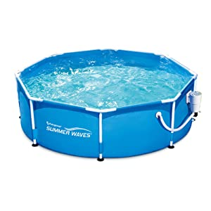 8 Summer Waves Metal Frame Above Ground Family Swimming Pool Set W Filter Pump