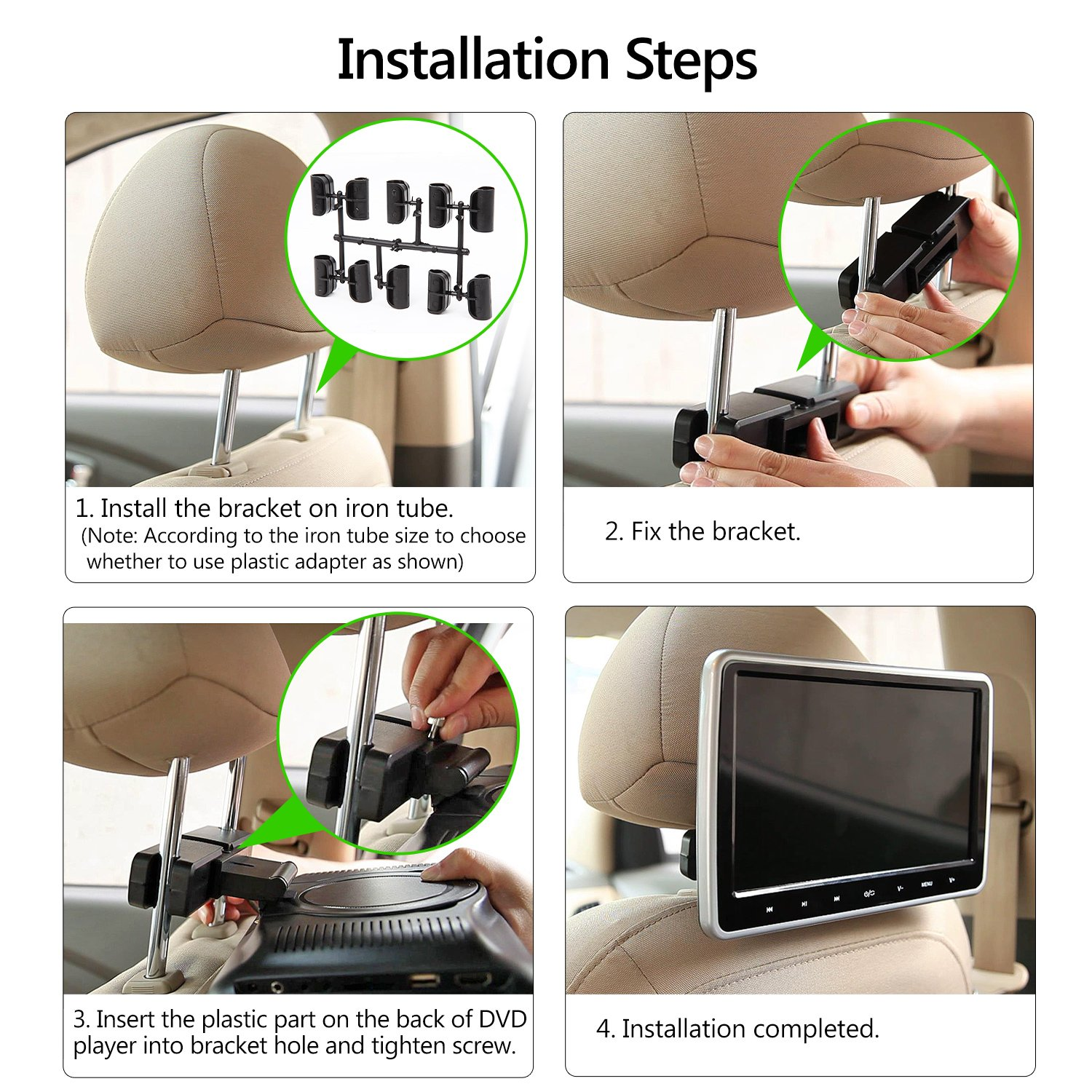 Eonon C1100A Black 10.1 Inch Clip-on Digital Screen Headrest Monitor with DVD Player One Pair by Eonon (Image #6)