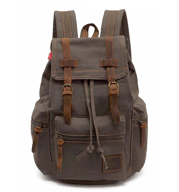 efd80b412 Canvas Backpack,Vintage Travel Camping Hiking Bag,Laptop School Bag  Shoulder Daypacks,Unisex Casual Rucksack Bookbag Bag for Men Women  HuaChen-AUGUR ...