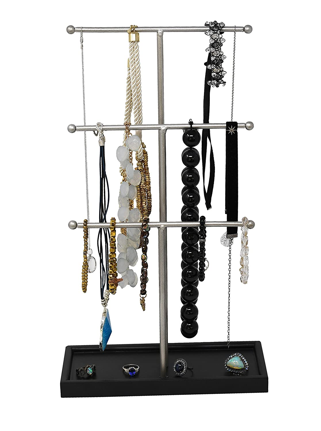 Three Tier Jewelry Stand with Wooden Base by Arad (BLACK)