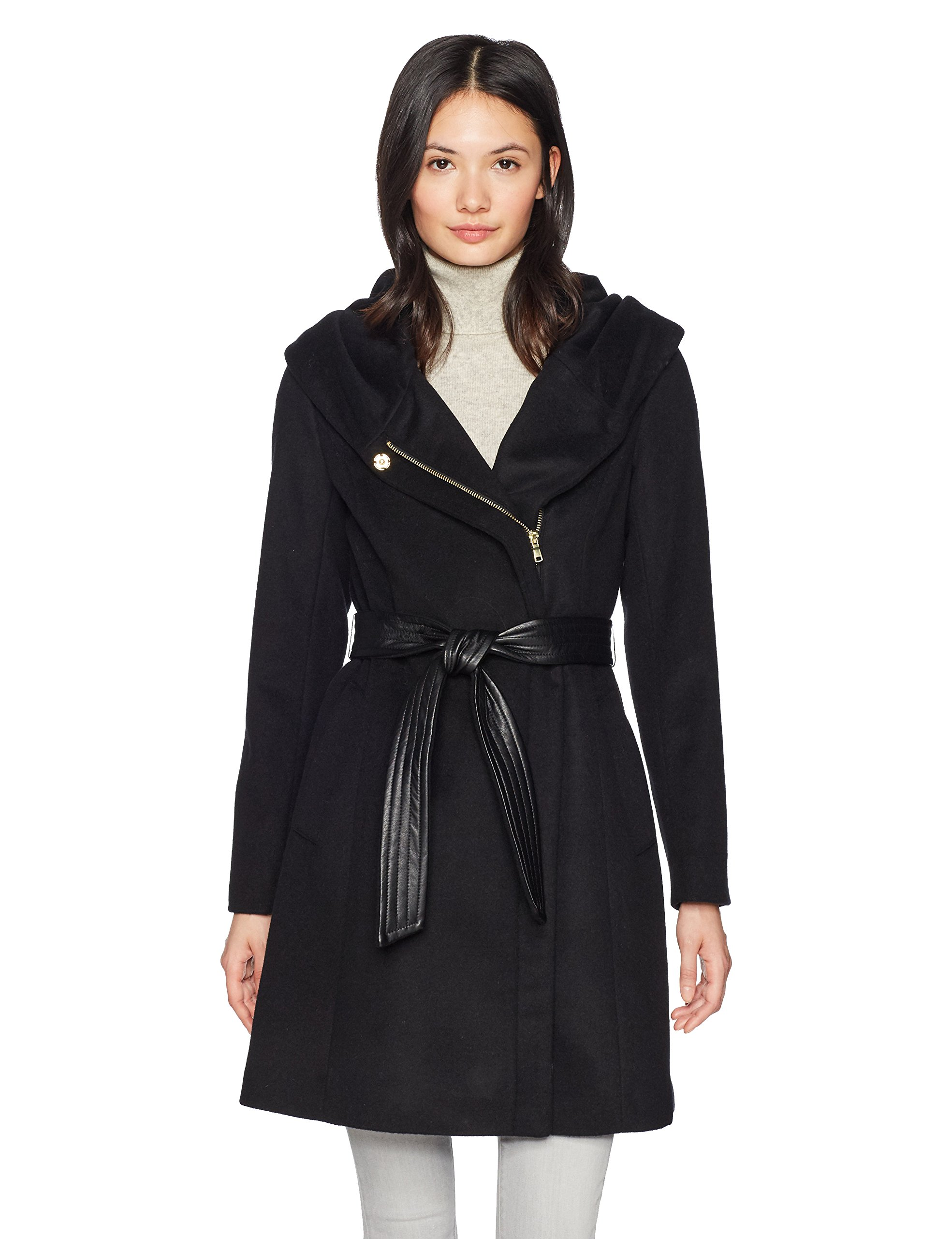 Cole Haan Women's Belted Asymmetrical Wool Coat with Oversized Hood, Black, 10 by Cole Haan
