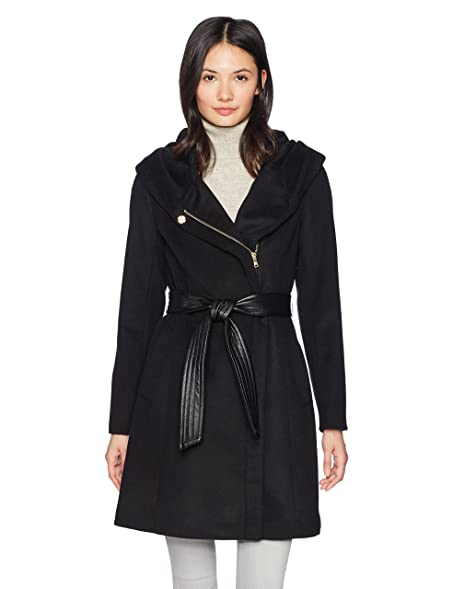 Amazon.com: Cole Haan Women's Belted Asymmetrical Wool Coat with ...