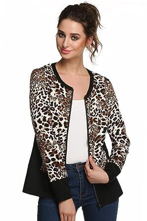 5c8b960833eb eshion Women Long Sleeve Animal Leopard Print Zipper Coat Jacket ...