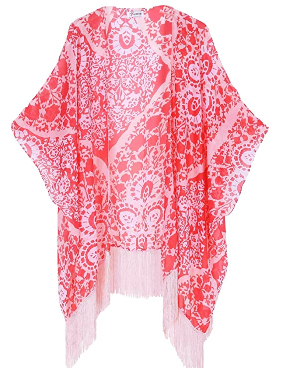 Women's Floral Kimono Cover Up - Lightweight Leopard Chiffon Beachwear for Bikini,Cardigan and Swimwear(One Size,Peach)